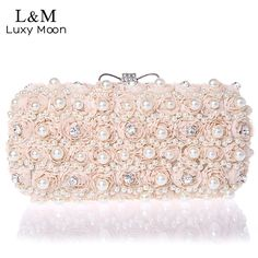 White Flowers Evening Hand Bag Noble Ladies Pearl Wedding Party Dressed Clutch BagsRhinestone Bow Mini Purse bolsos mujer XA40H //Price: $22.49 & FREE Shipping //     #hashtag4