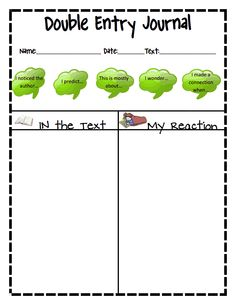 Double Entry Journal Sheet I Like This One For Younger Students