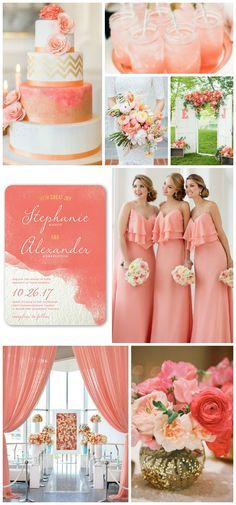 pretty palette coral navy gold glitter wedding cakes