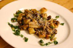Wild Mushroom Potato Gnocchi: fava beans, brussels leaf, organic egg yolk, & parmigiano-reggiano