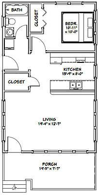 20x32 Tiny House 1 Bedroom Pdf Floor Plan 640 Sq Ft Model 1f Tiny House Floor Plans Small House Floor Plans Small House Plans