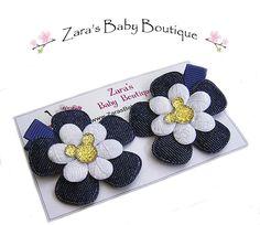 Minnie Mouse Hair Clips, Denim Flower Hair Clips, Flower Hair Clips, Clippies, Baby Gift, Toddlers, Girls ZBB by ZarasBabyBoutique on Etsy