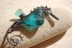 TURQUOISE seahorse wire wrapped seaglass by PalmerasDesign on Etsy, $220.00