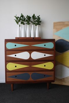 Mid-Century Modern Dresser Makeovers. You've got to see some of these awesome designs. The Design Chaser: Interview | Emma-Jayne Scott of Draw'n In