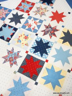 Hometown Quilt Pattern PDF - Finished quilt measures approximately x and uses just one Layer Cake for the star blocks Materials: 1 Layer Cake yard sashing strips 1 yard inner border and setting triangles yard outer border yard binding Flag Quilt, Star Quilts, Scrappy Quilts, Quilt Blocks, Patriotic Quilts, Easy Quilts, Layer Cake Quilt Patterns, Layer Cake Quilts, One Layer Cakes