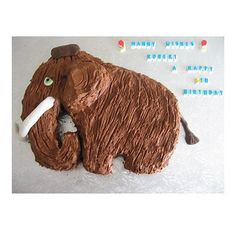 This cake was made for a boy who loved Ice Age and this was as close as I could get to Manny.