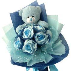 DCC Flower - TB992 - 1 bear & 6 foam rose