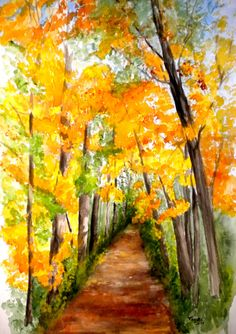 Original watercolor landscape painting path by WindingRoadGallery, $350.00