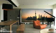 Modern house. Shanghai skyline wall mural!