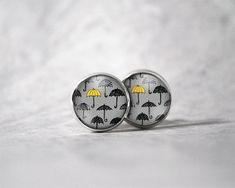 Boucles d'oreilles cabochon 10 mm / Motifs parapluies | Etsy