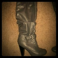 Dark Gray faux boots Cute 3 inch boots Hot Tomato  Shoes