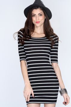 Women's #Fashion Clothing: Dresses: Black and White Horizontal Stripes Short Sleeves Casual Bodycon #Dress: Clothes