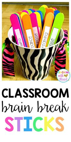 Need a Little {Brain Break}! Don't have an interactive white board? No problem! These DIY brain break sticks are the perfect solution. Let a student choose a stick, and have fun doing the action listed on it! Gross Motor Activities, Classroom Activities, Classroom Organization, Classroom Management, Physical Activities, Movement Activities, Classroom Ideas, Classroom Inspiration, Behavior Management