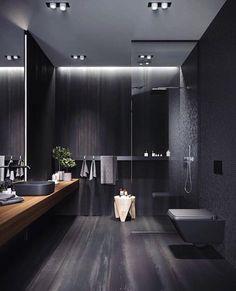 Bathroom Design Luxury, Modern Bathroom Design, Modern House Design, Bath Design, Bathroom Designs, Modern Luxury Bathroom, Minimal Bathroom, Modern Shower, Black Interior Design