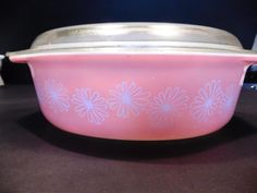 Vintage Pyrex pink daisy #045 casserole dish with lid 2-1/2 QT Spring Easter #Pyrex