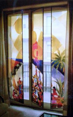 Mercato ai Caraibi dipinto su tre ante in vetro sabbiato. Casa privata a Torino. 1987