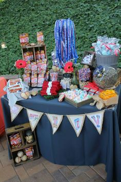 Vintage Baseball Wedding Concessions Table. Big League Chew, Cracker Jacks, Red Ropes, Cotton Candy, Sunflower Seeds, Taffy