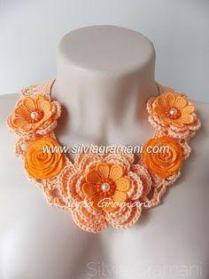 crochê, renda de guipir, colar de croche, feminino, laranja