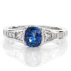 Design 1956 - Cushion Cut Engagement Rings - Sapphire, Half Bezel, Princess Channel