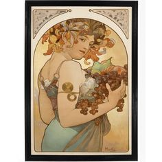 Also known as Autumn, this print of Alphonse Mucha, done originally in 1897, has a woman with a halo holding a harvest of fruit. All of our prints are beautifully rendered on 13 by 19 professional hea