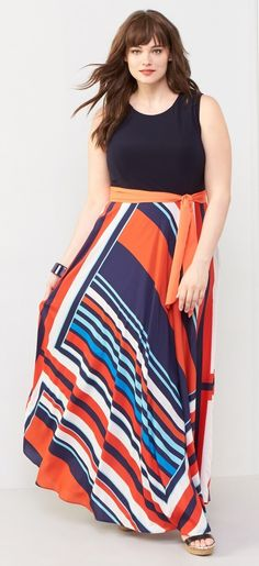 Plus Size Tile Print Jersey & Crepe Maxi Dress