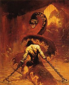 Frank Frazetta - Chained by myriac, via Flickr | Click through for a larger image #conan