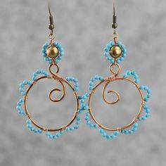 Copper wiring hoop Earrings handmade ani designs by AniDesignsllc