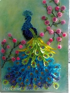 Painting mural drawing Valentine's Day Paper Quilling birdie photo 1