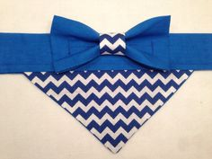 Dog Bandana  Blue Chevron with Bow by SpottedDogShop on Etsy, $9.95