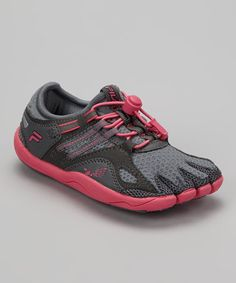 {Monument & Hot Pink Skele-Toes Bay Runner Shoe - Women by FILA} I just can't imagine running in these. Anyone have them and love em?