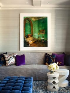 rich colours: emerald, purple, blue. textures: velvet + rug. Cush and Nooks: A Touch of Glamour
