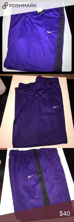 Men's Nike athletic Pants New with tags, size XXXL, dri fit, purple and black, 100% recycled polyester, pockets on the sides, zipper adjustment at the bottoms Nike Pants Sweatpants & Joggers