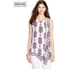 12019aab4e06a5 White House Black Market Womens Petite Sleeveless Medallion Print Tunic Top
