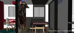 Apto São Paulo | Filho 3. Sofá cama + Mesa e banco + Faixa preta nas paredes e teto + Parede grafitada com prateleira para livros!