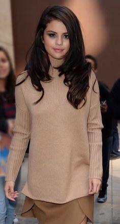 Selena Gomez wearing Tory camel
