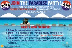 "Enter to win a #free #trip to Secrets The Vine Cancun! Follow us on Twitter: https://twitter.com/cheapcaribbean and tweet ""I'm joining the #Paradise #Party! My vote is for @cheapcaribbean and a free trip to Secrets The Vine Cancun."" Good luck! #twitter #cancun #freetrip #beach #vacation #vote #election"