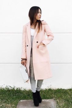 Pink Double-Breasted Coat | Banana Republic | short skirt long
