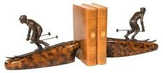 Bookends Bookend MOUNTAIN Rustic Down Hill Skier Winter Olympian Skiing OK-1390