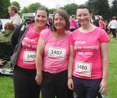 me, my auntie cindy and cousin louise before the race for life.