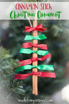 Quick and easy to make, these Cinnamon Stick Christmas Ornaments will add a darling look to your Christmas Tree. They also make for a great attachment on a wrapped present. Oh and neighbor gifts! What a cute gift to give to your neighbors!                                                                                                                                                                                 More