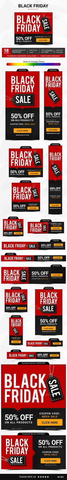 Black Friday Web Banners Template PSD #design #ads #promotion Download: http://graphicriver.net/item/black-friday-banners/13541961?ref=ksioks