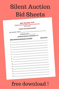 Silent Auction Bid Sheet  X  Sku   Carnival