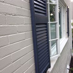Painted Brick Exterior: Ben Moore Edgecomb Grey, Hale Navy Shutters, White Dove Trim.