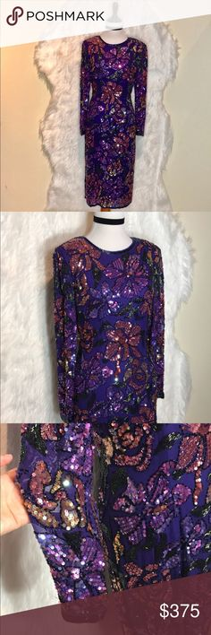 """Vintage Oleg Cassini Purple Beaded Dress A multi-colored kaleidoscopic Flower print on silk chiffon embellished with glass beads & sequins in brilliant, shades of purple, pink, gold, yellow, purple, and blue. Beads and sequins of various shapes and sizes are hand sewn to follow the patterns of the print. Fully lined. back zip. Shoulder pads. EUC-There are no stains, holes or tears. Typical minor signs of normal wear/use; the beads are impeccable. laid flat across @ bust: 17"""", laid flat…"""