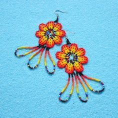 Huichol Jewelry Small Flower Earrings with Long Fringe -- Flower Earrings, Beaded Earrings, Beaded Jewelry, Crochet Earrings, Beaded Bracelets, Yarn Painting, Weaving Yarn, Mexican Jewelry, Long Fringes
