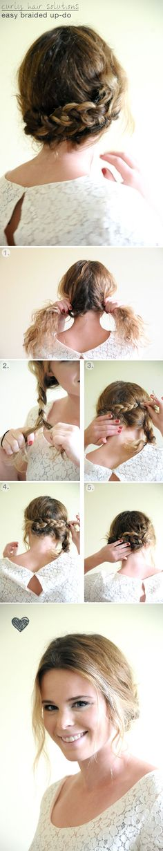 1. Part your hair down the middle / 2. Make two pigtail braids and secure with an elastic / 3.Take one pigtail and bring to the oposite side, use a bobby pin to secure. / 4. Do the same on the other side, I used four bobby pins to hold the braids in place / 5. Tuck in the ends so they don't show. // Your finished! // *pull out strands to frame your face before hand!