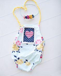 My Hearts Delight - newborn romper in aqua, navy blue, pink, fuchsia, yellow…