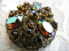 Vintage Germany Floral Brooch Stamped Brass and Rhinestones in Citrine and Topaz AB