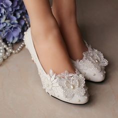 Wedding Shoes- White Bridal Flats with Lace, Bridal Ballet Flats, Leather