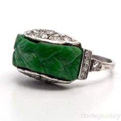 Art Deco. Platinum, Diamond and Jade Ring.
